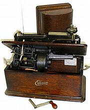 Edison Phonograph, home model. Complete with crank, lid and reproducer.