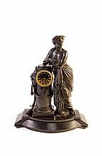 French School (19th Century) The figure of a Greek Goddess leaning on a column supporting a clock Bronzed spelter on slate base