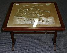 A Federation Japanese silk embroided panel - table fire screen