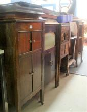 Six assorted gramophone cases AF together with a selection of panels, parts, mouldings etc