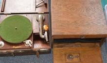 A Rexoport timber cased portable gramophone together with another and spares
