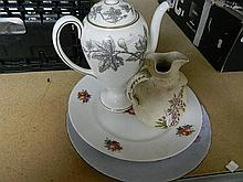 Various ceramics including wedgewood coffee pot.
