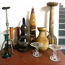 Quantity of bric-a-brac including tribal art, candlesticks, pottery jug etc