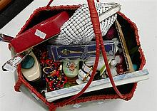 A Decorative Basket of Costume Jewellery, Bags, Dressing Table Items etc