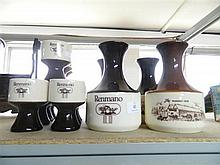 A box of Renmano Pottery including wine carafes & goblets