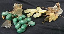 A Pair of Decorative Glass Grape Leaves with Glass Grapes