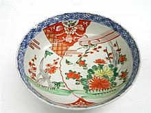 A Porcelain Bowl with an Overglaze Iron Red Design and Underglaze Blue in the Imari Palette, Early 20th Century.