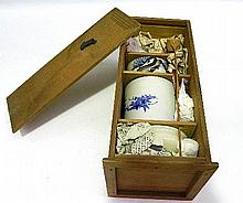 A Wooden Boxed Tea Ceremony Set,