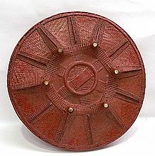 A South East Asian Red Lacquer Rattan Tray