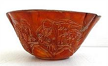 A Chinese Horn Carved Bowl
