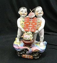 A Rare Chinese Republic Period Double Happiness Porcelain Sculpture