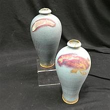 A Pair of Chinese Meiping Shaped Junyao Vases