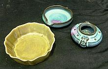 Three Asian Pottery Bowls, Two Blue and One Green