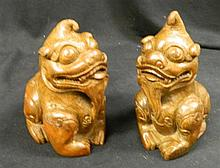 A Pair of Chinese Bamboo Carved Fu Dog Figures