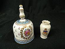 A Porcelain Bell together with a Miniature Vase