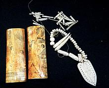 Two Small Etched Bone Hangings together with Ivory Hanging