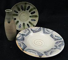 Three Studio pottery items, two plates and a vase