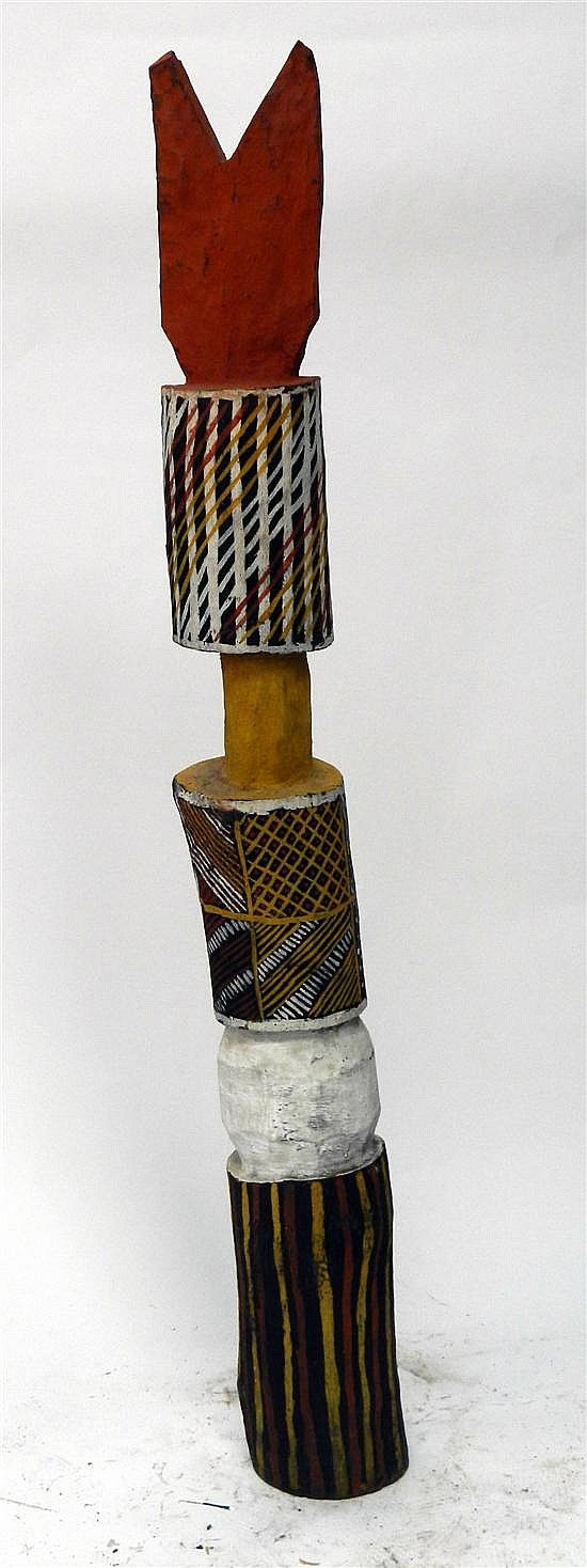 Artist Unknown Melville Island Forked Pukamani Pole1989 Earth pigments on Ironwood