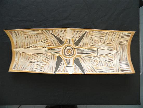 A Bark painting c.1960s from Eastern Arhemland