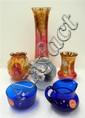 Three gilded Venetian glass vases, together with Holegaards glass jug & bowl and a B&G vase (6)