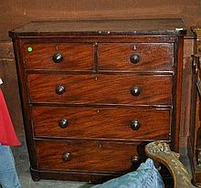 A mahogany chest of five drawers, 104cm W