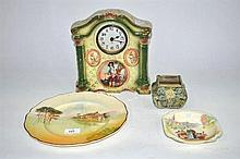 A china mantle clock, Royal Doulton cabinet plate, bowl and pottery bud vase