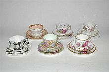 Six tea cup, saucer and plate sets, various