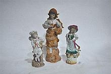 Three Continental bisque figure ornaments, various