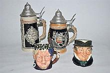 Two Royal Doulton character jugs, together with two lidded beer steins