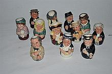 A set of twelve Royal Doulton character jug miniatures, The Doultonville Collection
