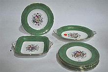 A Coalport fruit service, including rectangular and oval dishes
