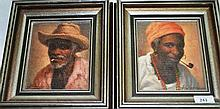 A pair of oil paintings on canvas, depicting African Villagers, each 16 x 14cm