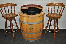 An oak barrel / cocktail bar, together with two bar stools