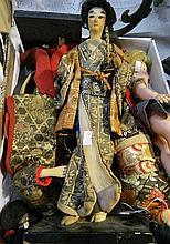 Collection of vintage dolls including Japanese Geisha
