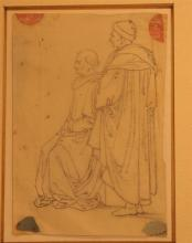 European School (18 th-19th Century) Figure study of Two Men + Adminstring the Host + A Family Group (3) Pencil on paper + charcoal...