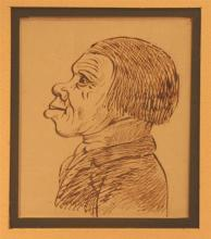 English School (19th Century) Caricatures (2) Each brown ink on paper