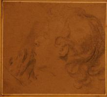 European School (17th & 18th Centuries) Portrait Study + Allegory of Science (2) Pencil on paper + black ink & wash on paper