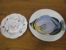 A plate with reef fish design and a plate with St. Paul