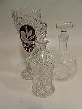 Crystal vase and two decanters