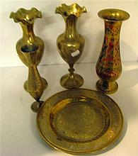A collection of Indian brass including vases and a tray