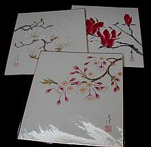 A Set of Three Floral Paintings
