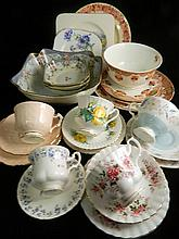 Collection of ceramics including Royal Albert trio, Royal Doulton, Ainsley, etc.