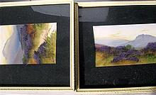 A set of 5 framed oils of landscapes with heather.