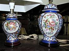 Two ceramic lamps with floral motifs