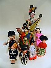 A collection of dolls of the world