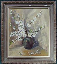Kay Rodd, Still Life Blossom, oil on canvas, signed lower right