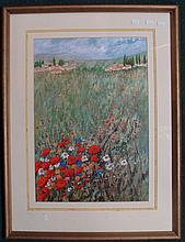 Ghyslaine Bluett, Wildflower Field, Italy, watercolour, signed lower right