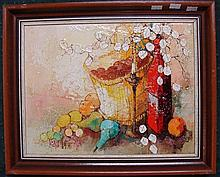Michel Nat, Still Life, Fruit, Wine & Nuts, oil on canvas, signed lower left