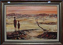 Artist Unknown (I.K.L.) Figures in a Desert Landscape,