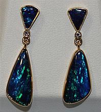 A Pair of Opal and Diamond Drop Earrings